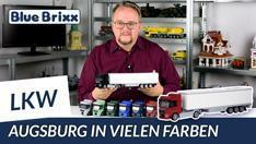 YouTube: LKW in vielen Farben von BlueBrixx -  Augsburg 2-Achs mit 3-Achs Koffer