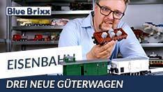 Youtube: Drei neue Güterwagen von BlueBrixx, gezogen vom Prototyp der V100!