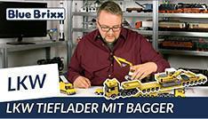 Youtube: Schwerlast-LKW mit Bagger auf Tieflader von BlueBrixx