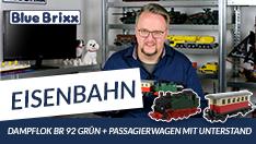 Youtube: Dampflok BR 92 in Grün & Passagierwagen in Rot/Beige von BlueBrixx