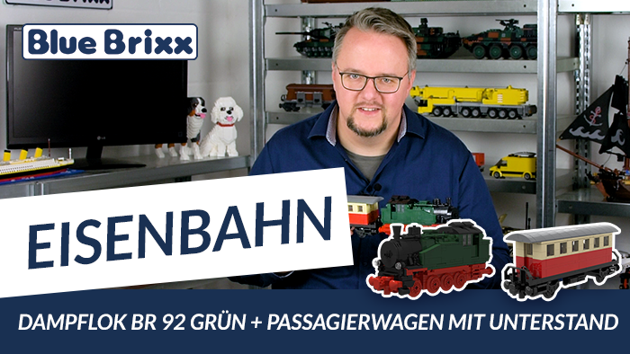 Youtube: Dampflok BR 92 in Grün & Passagierwagen in Rot/Beige von BlueBrixx
