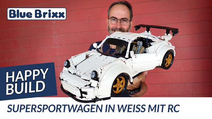 Supersportwagen in weiß mit RC von Happy Build @ BlueBrixx - mit Probefahrt auf der Teststrecke!