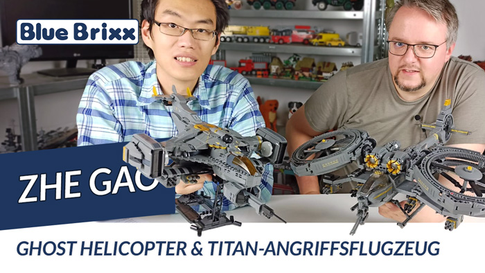 Youtube: Ghost-Helicopter & Titan-Angriffsflugzeug von Zhe Gao @ BlueBrixx