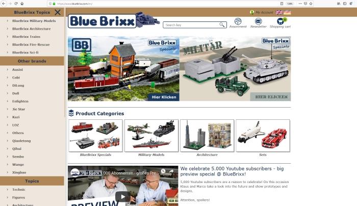 BlueBrixx website menu
