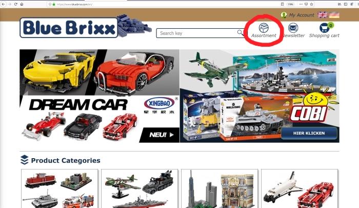 BlueBrixx website menu button marked
