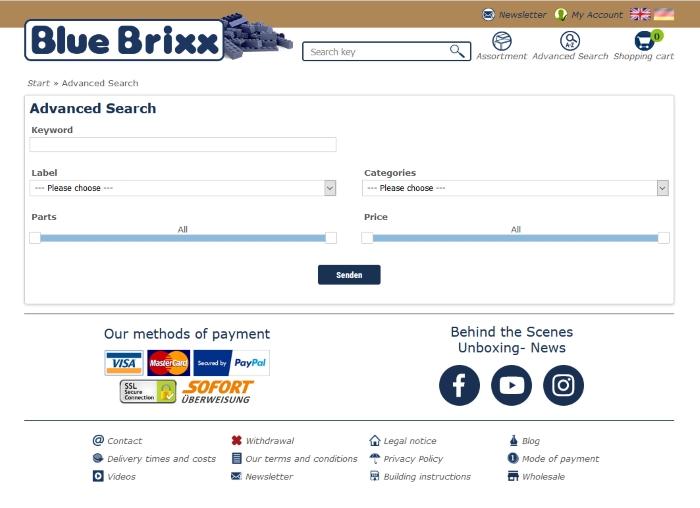 Adcanced search on bluebrixx.com