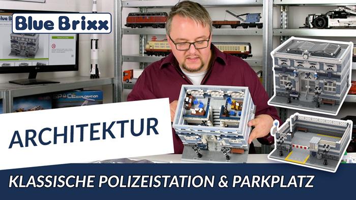 BlueBrixx klassische Polizeistation mit einem Parkplatz