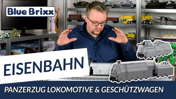 Youtube: Panzerzug Lokomotive & Geschützwagen von BlueBrixx