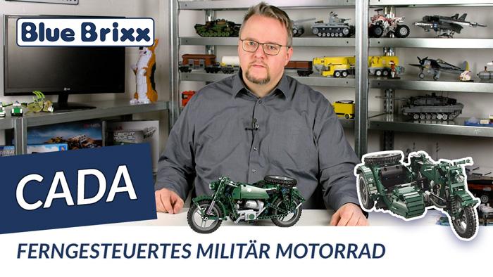 Youtube: Ferngesteuertes Militärmotorrad mit Beiwagen von CaDA @ BlueBrixx