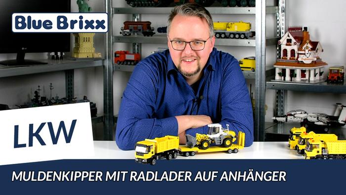 Youtube: Muldenkipper mit Radlader auf Anhänger von BlueBrixx