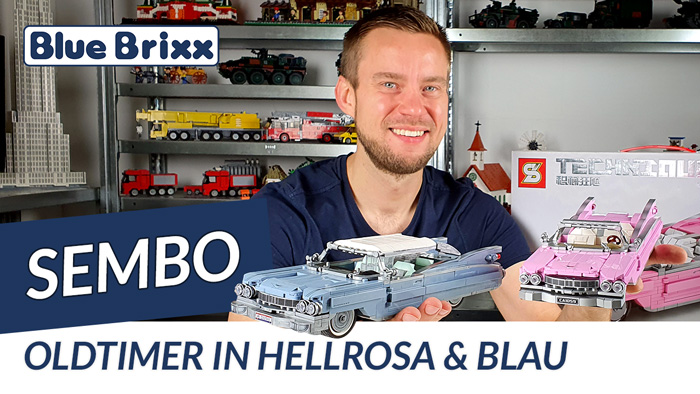 Youtube: Oldtimer in hellrosa und blau von Sembo @ BlueBrixx - mit Autorennen!