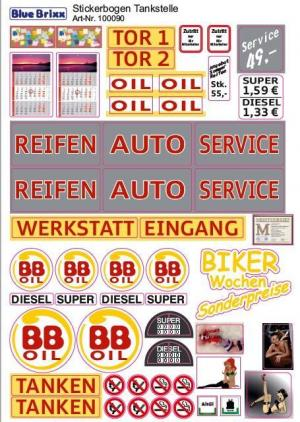 Sticker sheet for petrol station