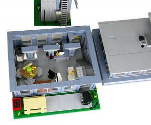 Moderne Feuerwehrstation mit Schlauchturm