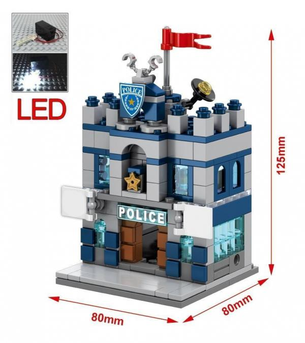 Mini Street Building Block with LED Light, 4 in 1 Set
