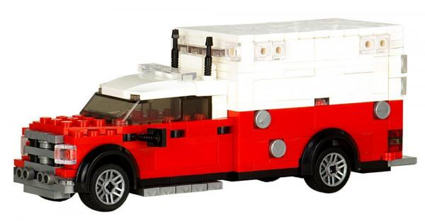 Fire Department Ambulance in white/red