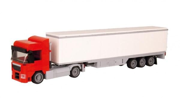 Truck Augsburg 2-axle with 3-axle suitcase red