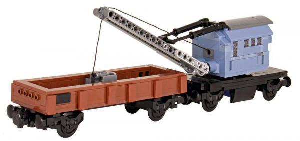Schienendrehkran mit Rungenwagen