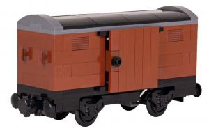 Covered boxcar, brown, with dark grey frame