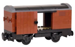 Gedeckter Güterwagen, braun, mit dunkelgrauem Rahmen