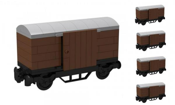 Box Wagon, brown with grey roof 5er Set