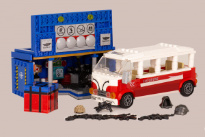 Party bus with equipment container