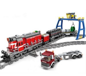 Red Diesel Freight Train with track circle