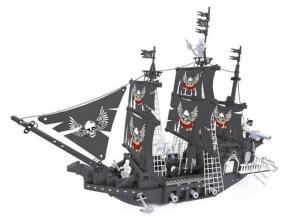 Skeleton pirate ship in black