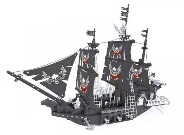 Skeleton pirate ship in black