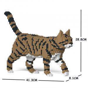 Katze  laufend + braun/schwarz/weiß