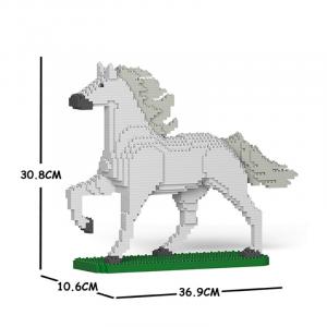 Pferd weiß + trabend