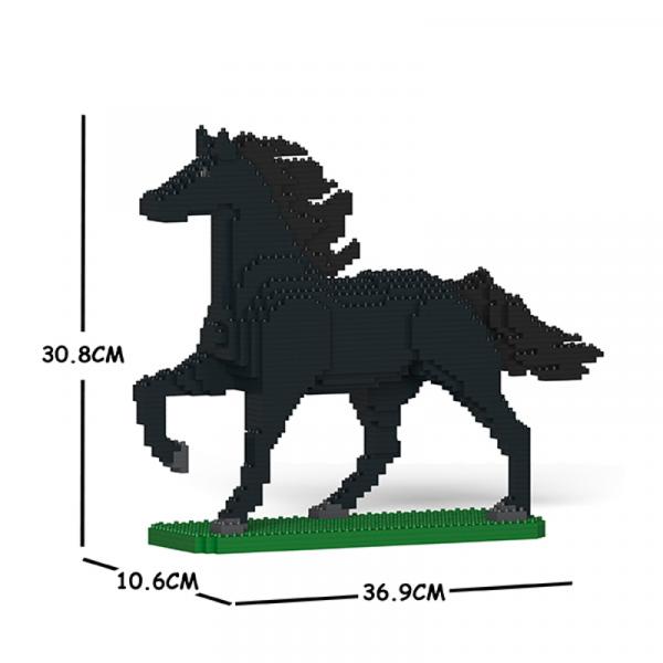 Horse black + trotting