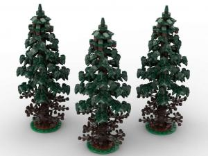 Spuce trees, set of 3