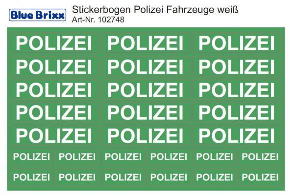 Stickerbogen für Polizeifahrzeuge