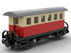 Passenger car with shelter red tan