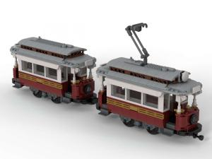 Classic tram with trailer