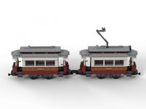 Klassische Straßenbahn mit Anhänger