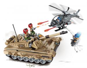 Kampfpanzer mit Helikopter