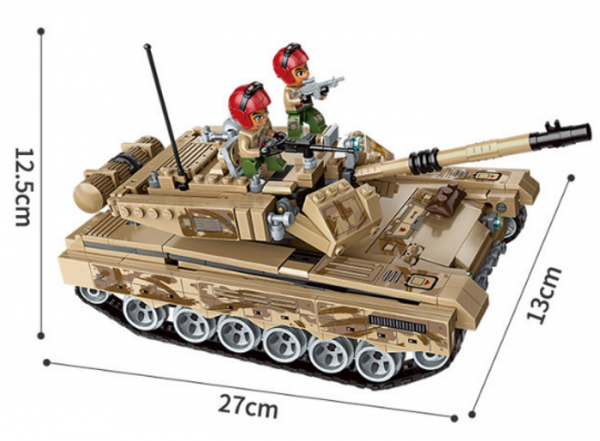 Battle tank with helicopter