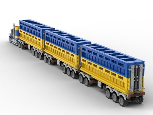 LKW mit 3 Viehanhängern