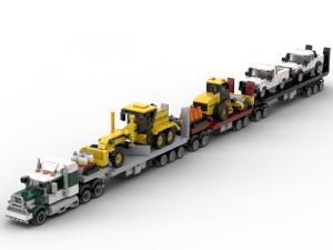 White & Green Multi-Vehicle Road Train