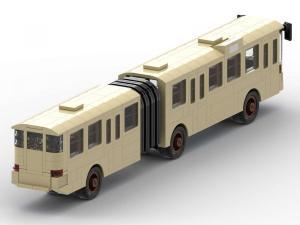 Klassischer alter Gelenkbus in tan
