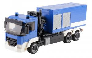 Emergency vehicle with 2 containers blue white
