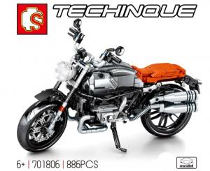 Motorcycle silver and orange