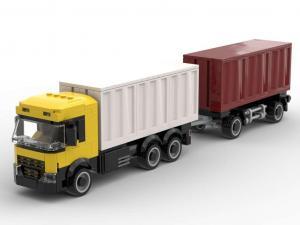 Container Lastwagen mit Anhänger