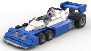1977er sechsrädriger Formel Wagen blau/weiß