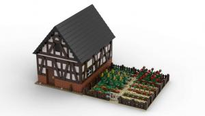 Small timber barn with vegetable garden