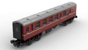 Dark red Passenger Wagon with golden Stripes