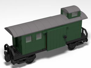 Baggage car with shelter in dark green