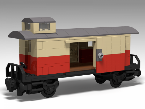 Baggage car with shelter in red/tan