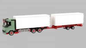 Logistik LKW mit Seecontainer und Anhänger